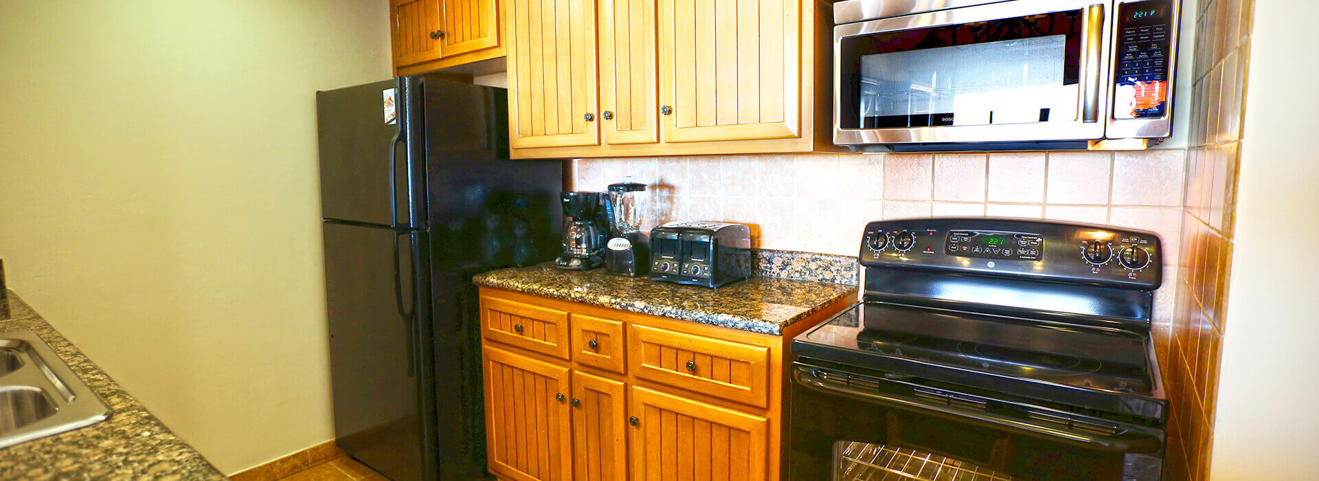 ample fully equipped kitchen in suite